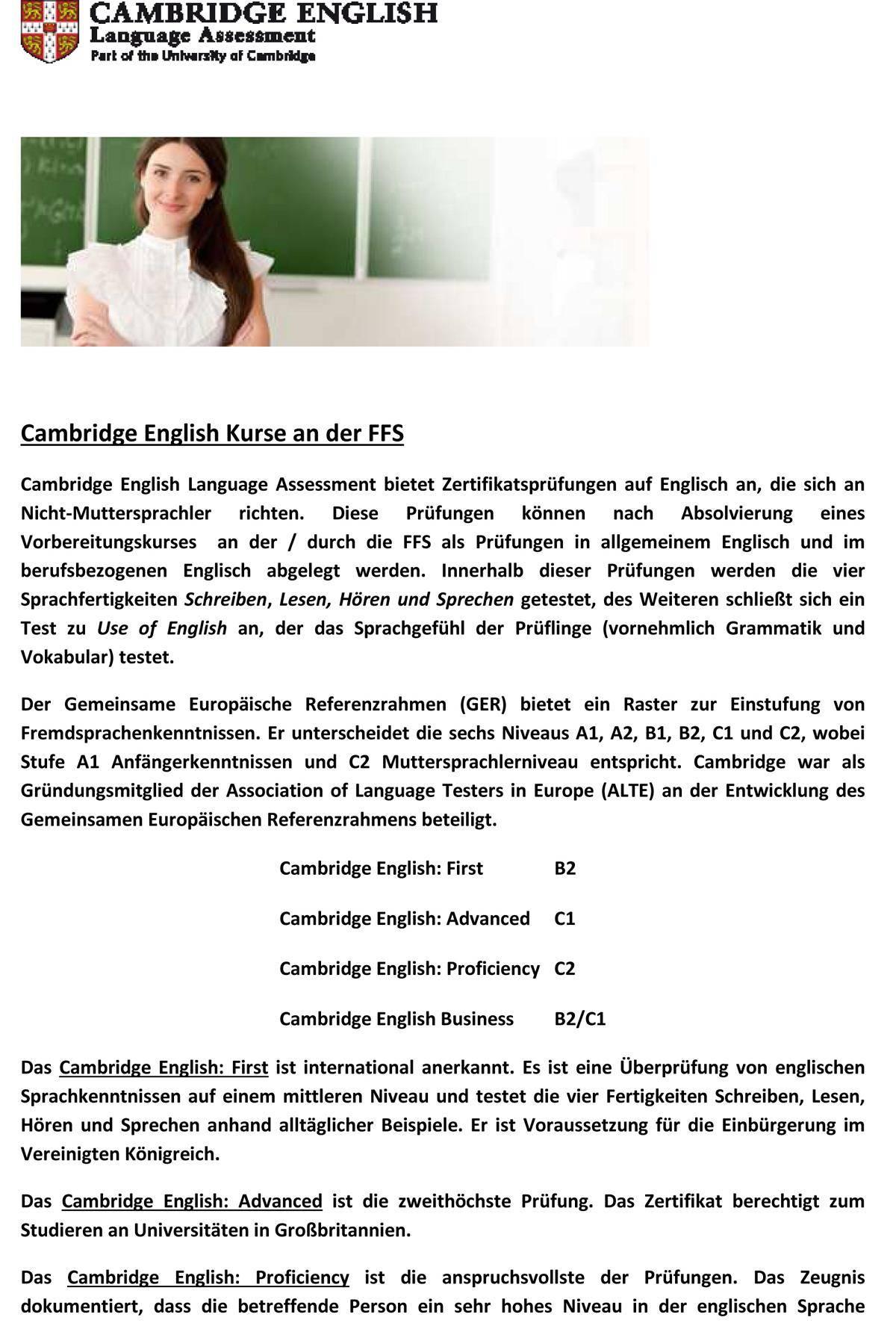 Vorteile von Cambridge English für FFS